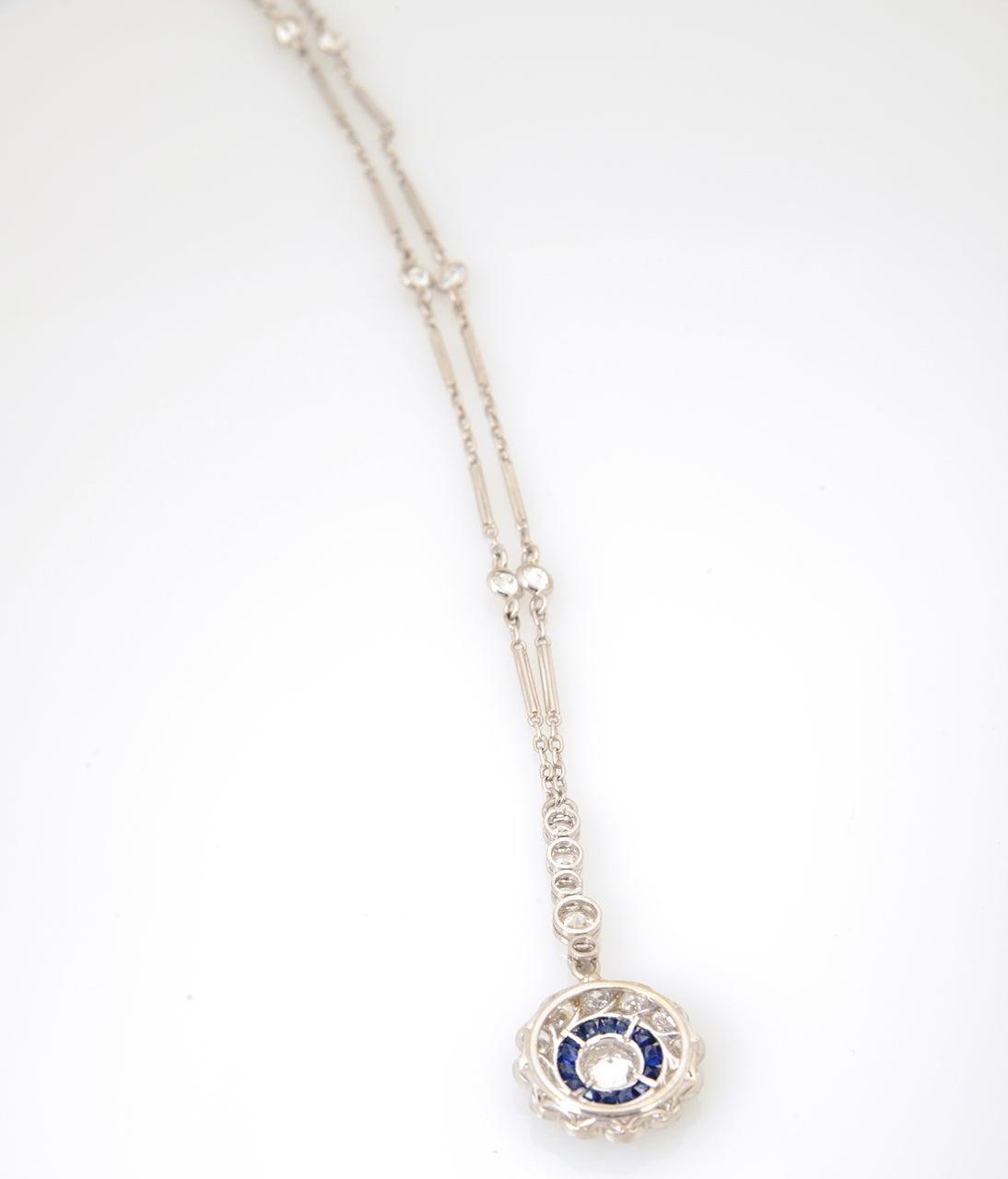 Art Deco Floral Sapphire and Diamond Platinum Drop Pendant Necklace For Sale 3