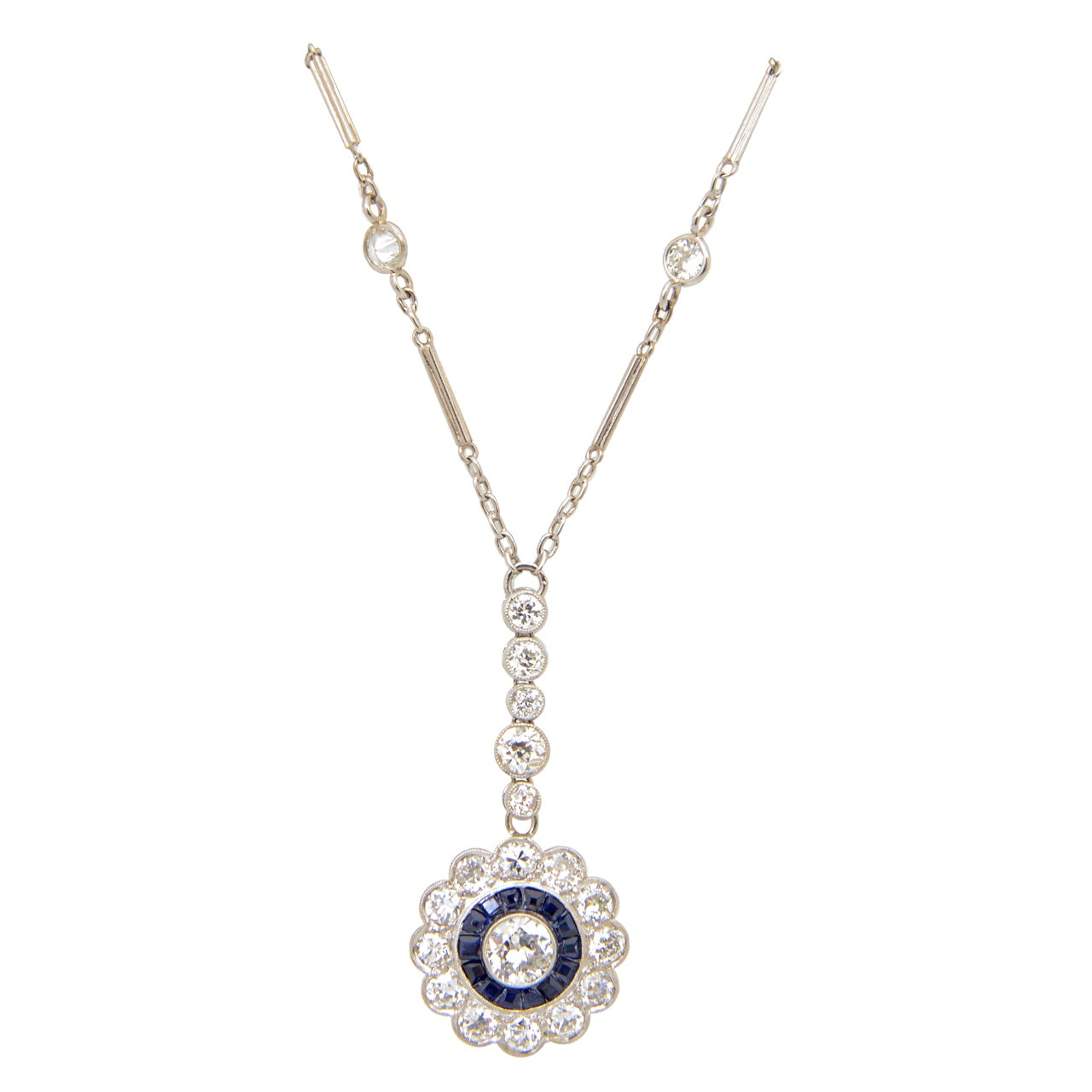 Art Deco Floral Sapphire and Diamond Platinum Drop Pendant Necklace