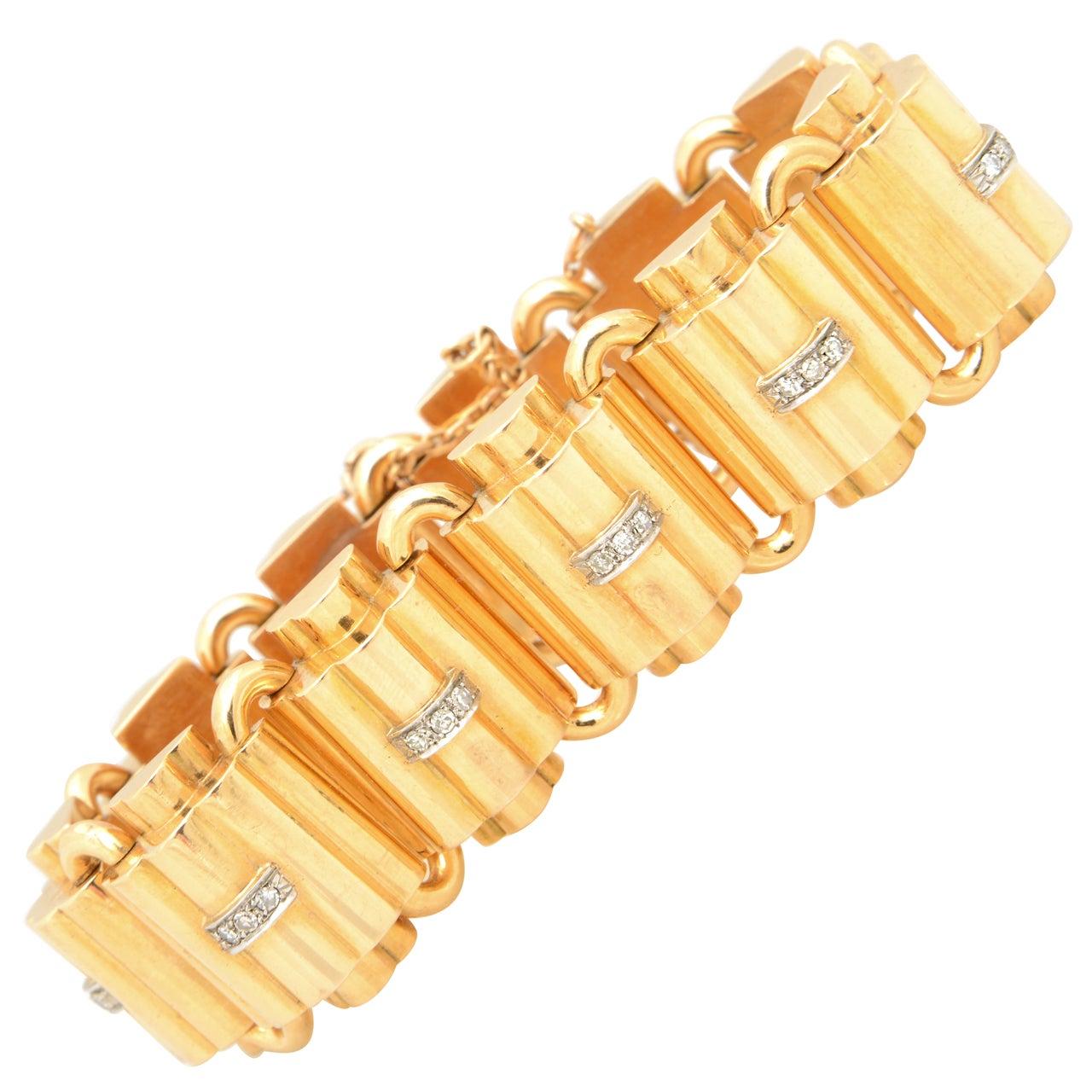 Fabulous Retro Diamond and Gold Bracelet