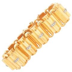 Fabulous Retro 1940s Wide Diamond and Gold Stylized Dome Bracelet