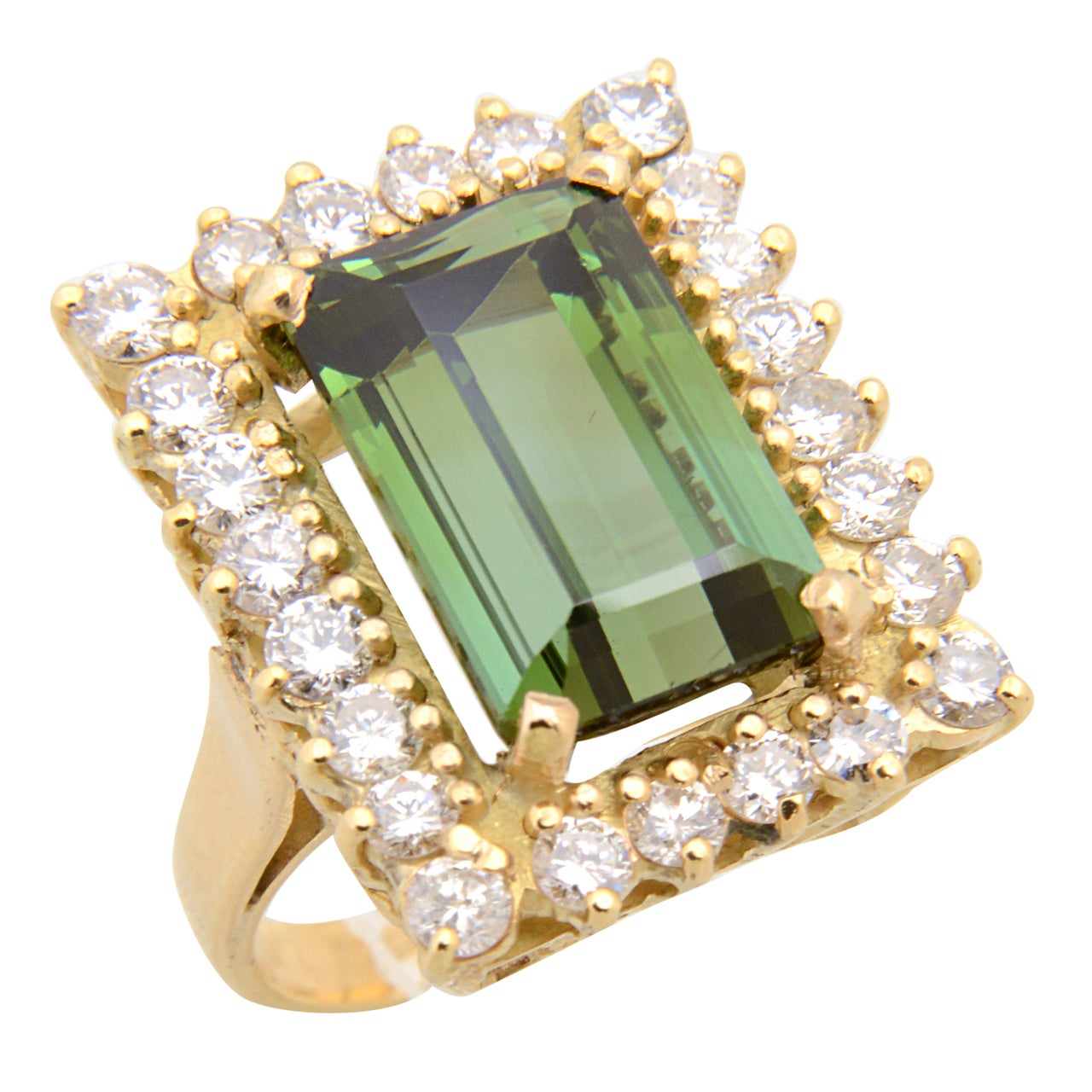 Elegant Green Tourmaline Diamond Gold Ring