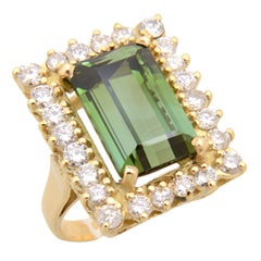 Green Tourmaline Diamond Gold Cocktail Ring