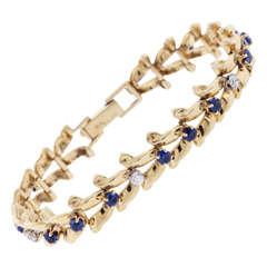 Raymond Yard Sapphire Diamond Gold Ribbon-Link Bracelet
