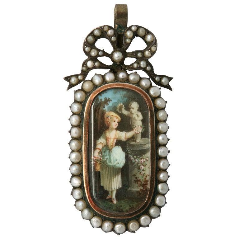 19th Century Antique Enamel Pearl Pendant