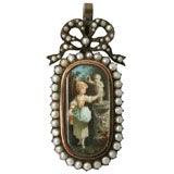 19th Century Antique Enamel Pearl Pendant