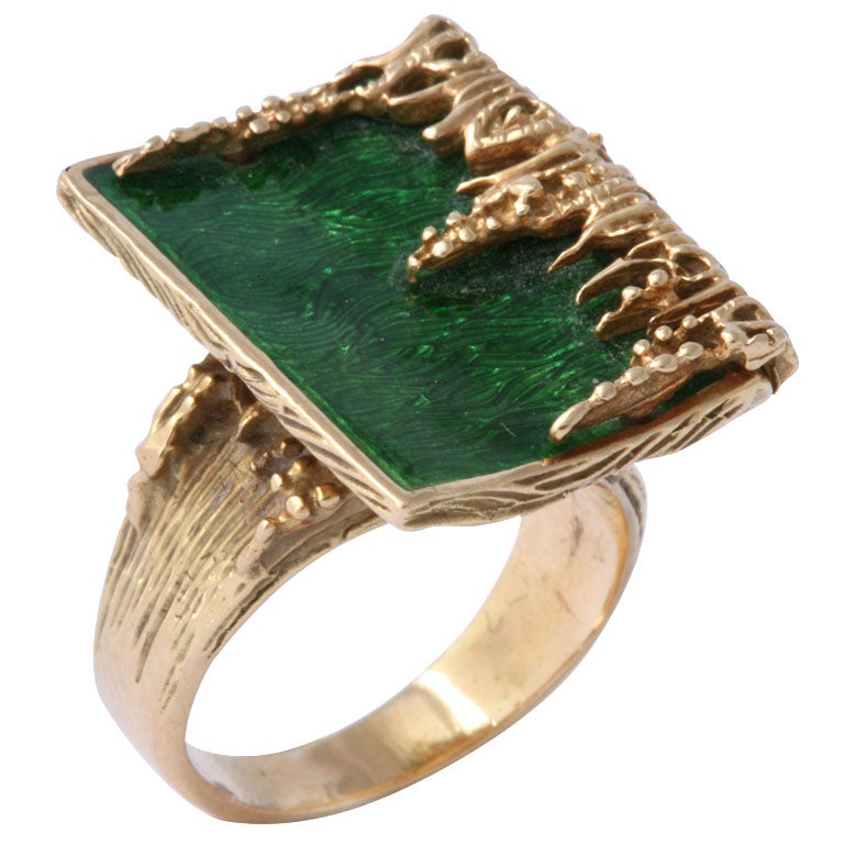 yellow gold and green enamel ring at 1stdibs