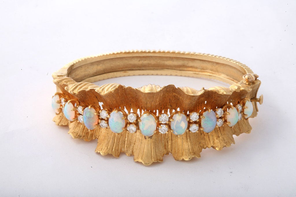 Gold Diamond & Opal Bracelet 2