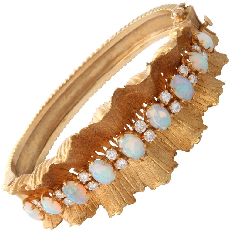 Gold Diamond & Opal Bracelet 1