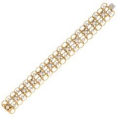 Gold and Diamond Lace Bracelet