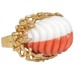 1960s Modernist Carved Two-Tone Coral Stylized Gold Ring