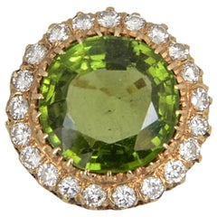Large Peridot Diamond Gold Cocktail Ring Over 15 Carat