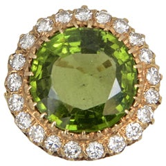 Large Over 15 Carat Peridot Diamond Gold Cocktail Ring