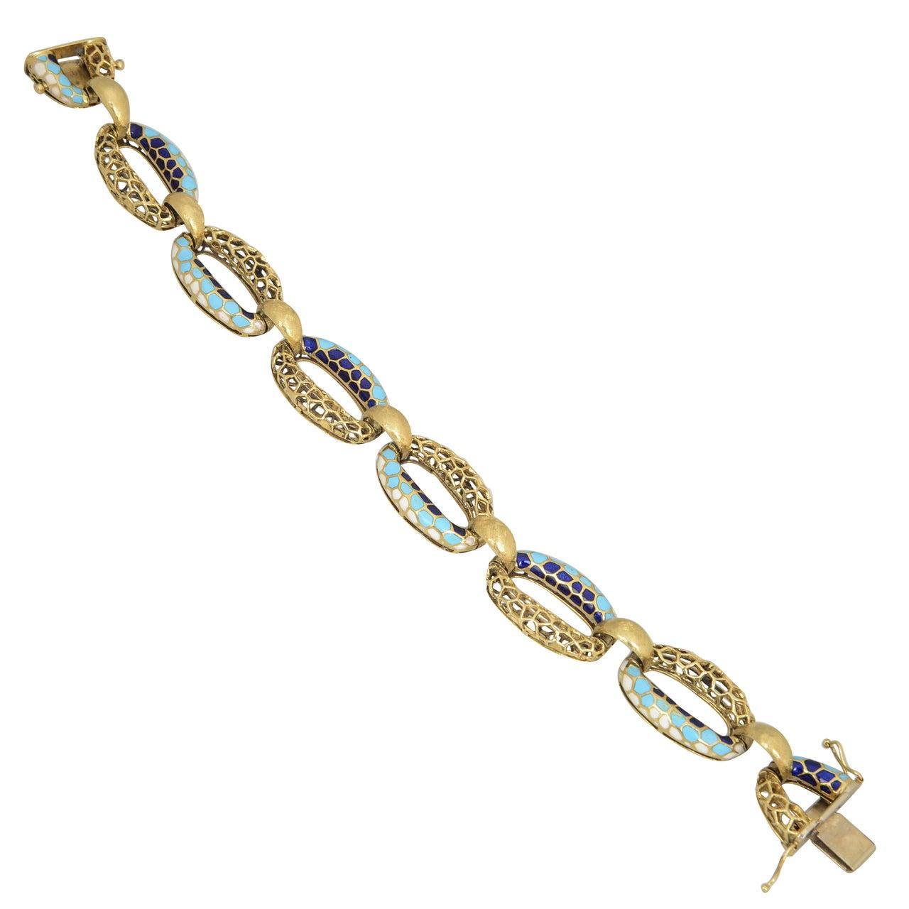 1970s Blue and White Enamel Honeycomb Gold Bracelet