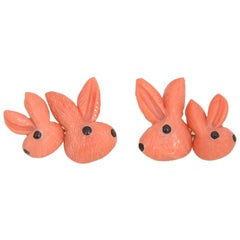 Italian Hand Carved Coral Bunny Rabbit Gold Cufflinks