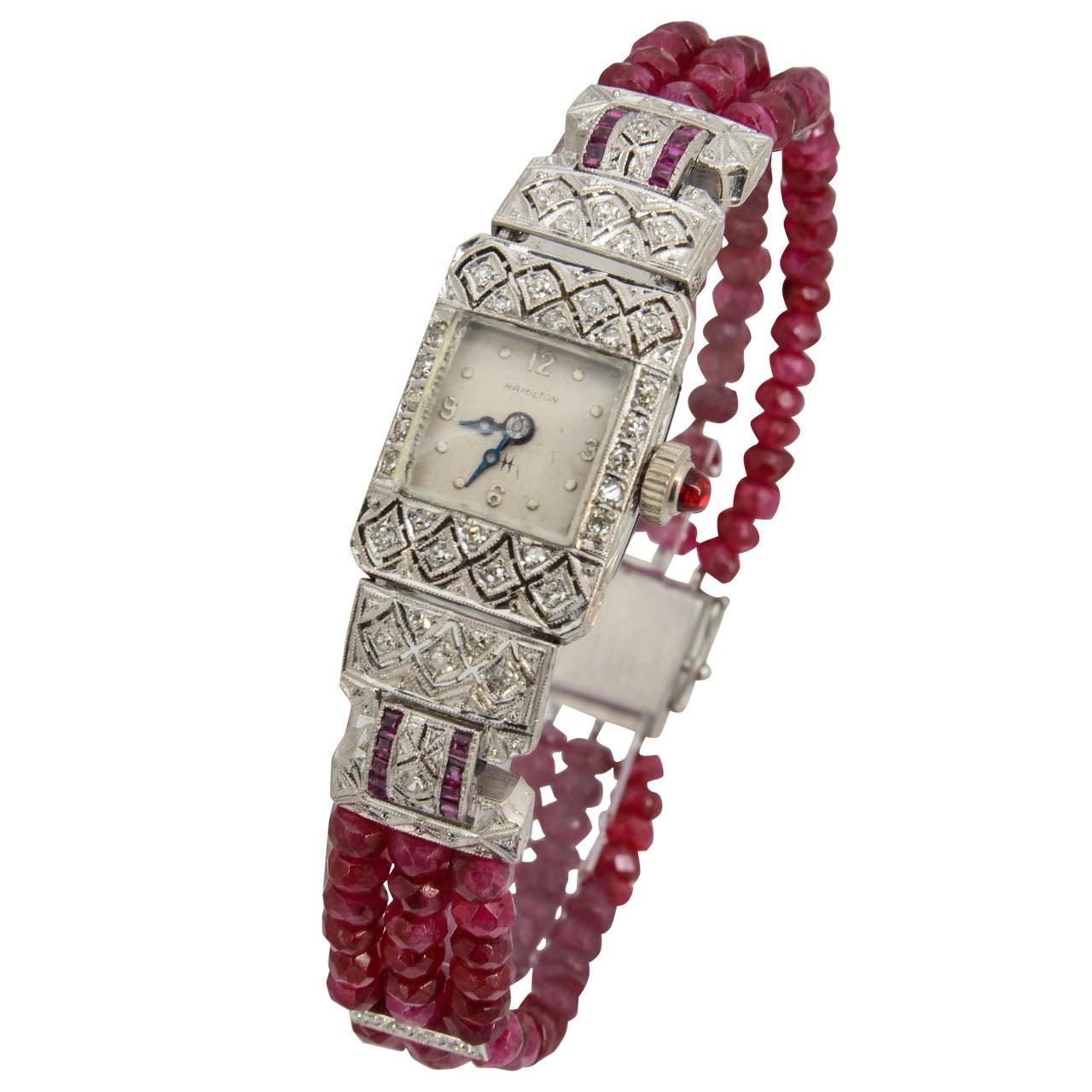 Hamilton Ladies Platinum Diamond Ruby Bead Bracelet Wristwatch