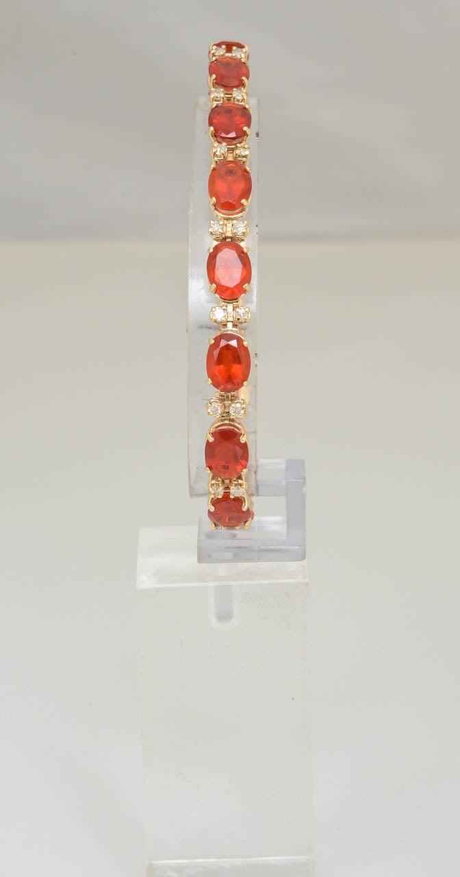 70 S Brillant Mexican Fire Opal And Diamond Line Bracelet