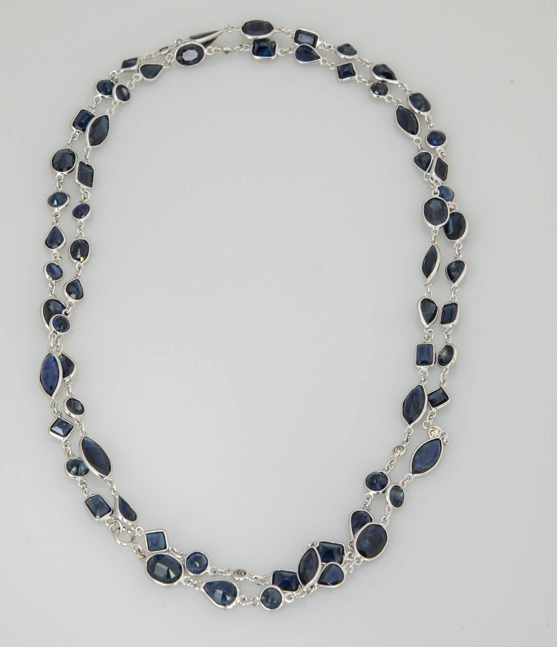 Sapphire Diamond by the Yard Gold Necklace 2