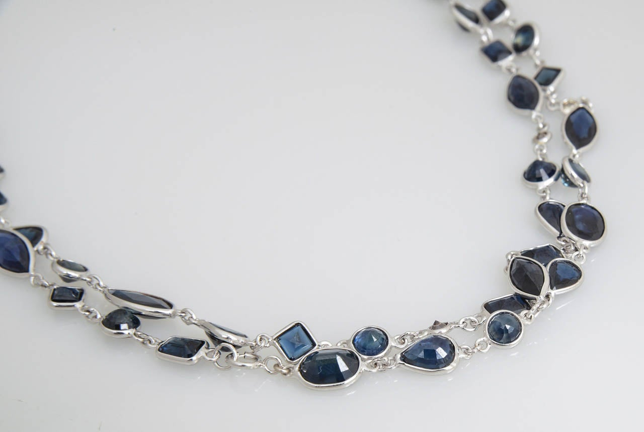 Sapphire Diamond by the Yard Gold Necklace 3