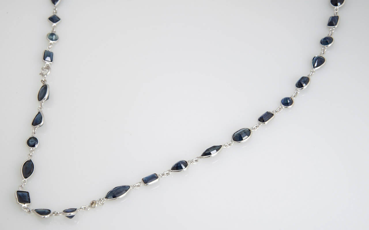 Sapphire Diamond by the Yard Gold Necklace 4
