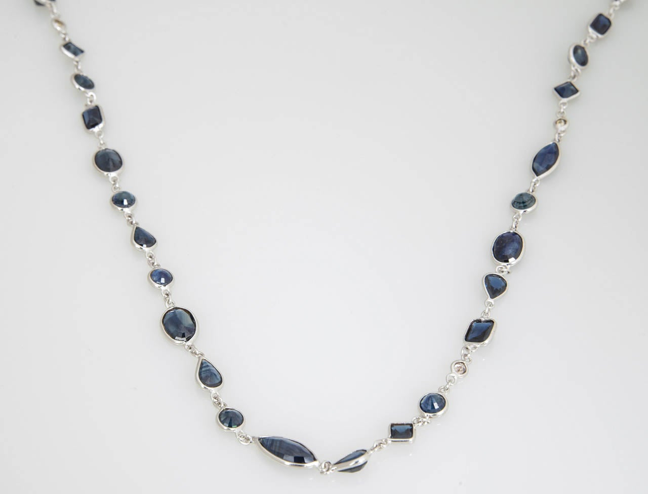Sapphire Diamond by the Yard Gold Necklace 6