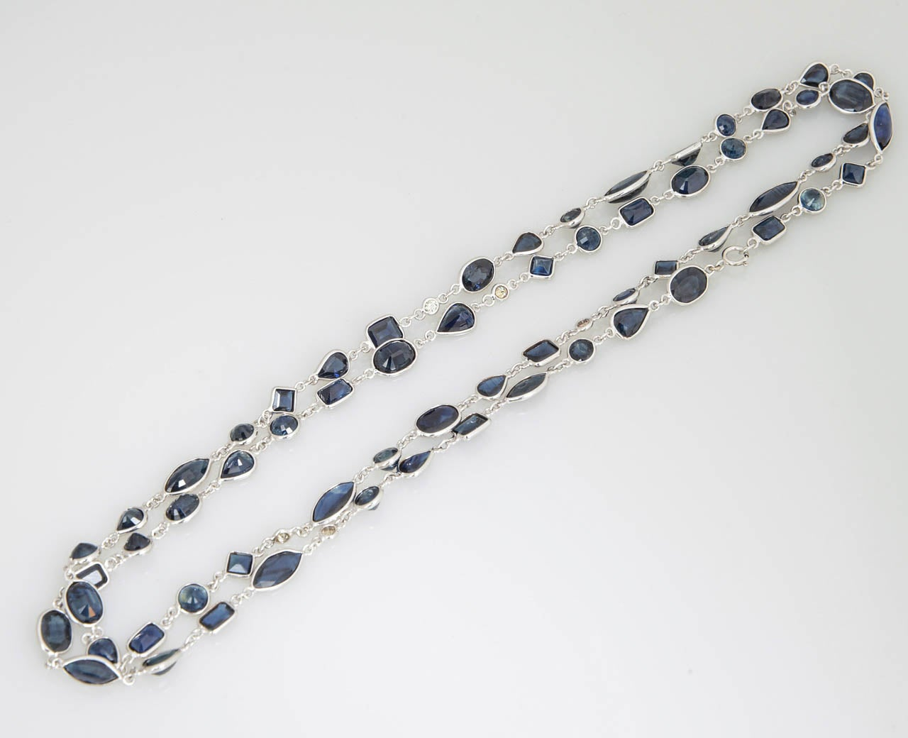 Sapphire Diamond by the Yard Gold Necklace 7