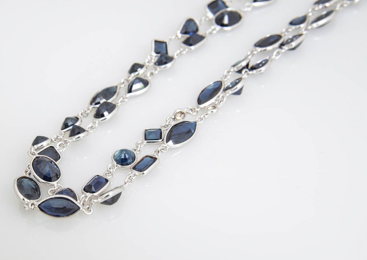 Sapphire Diamond by the Yard Gold Necklace 8
