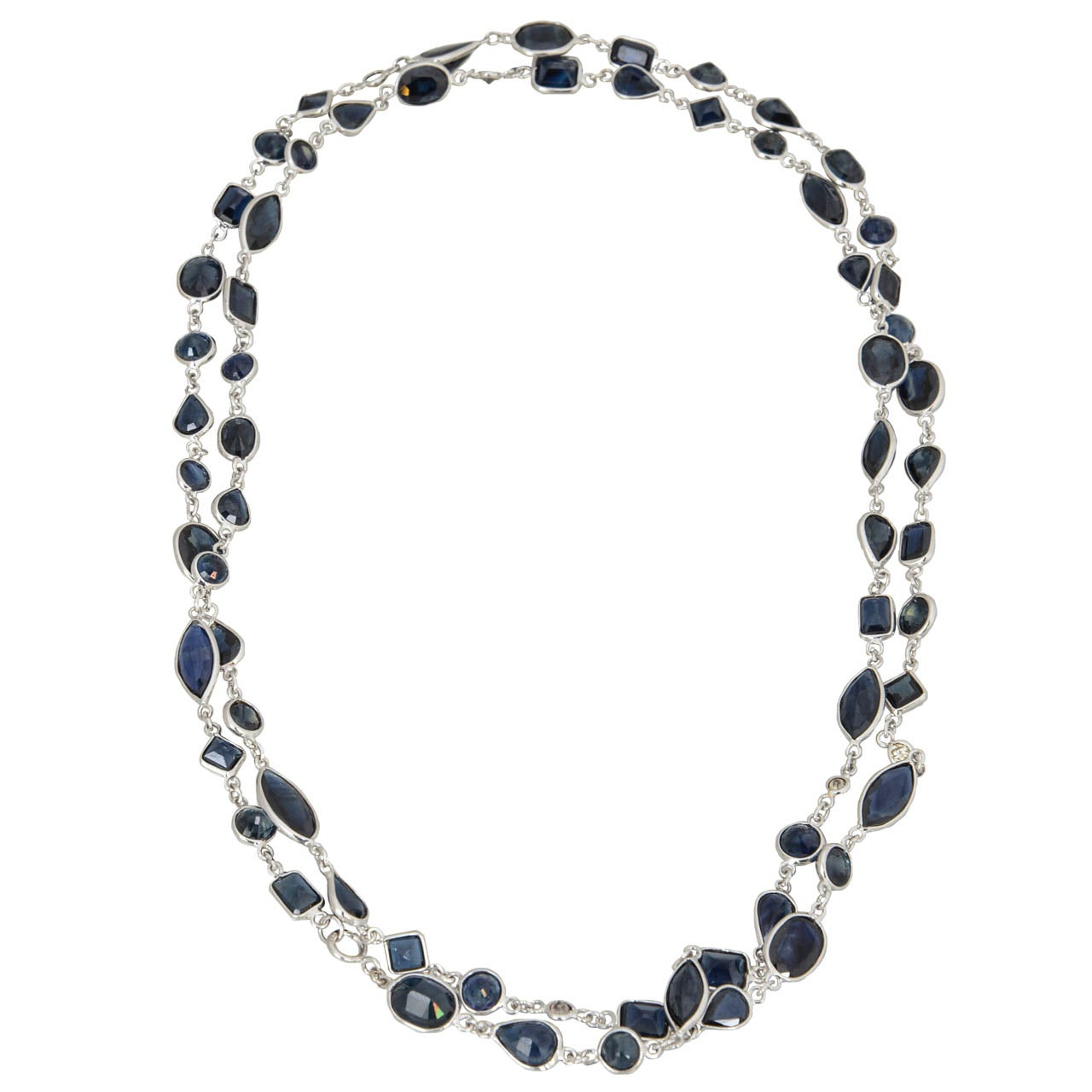Sapphire Diamond by the Yard Gold Necklace 1