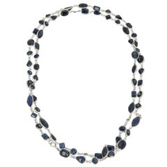 Sapphire Diamond by the Yard Gold Necklace