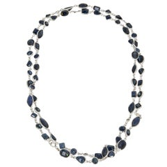 Fancy Cut Sapphire and Diamond by the Yard Gold Necklace