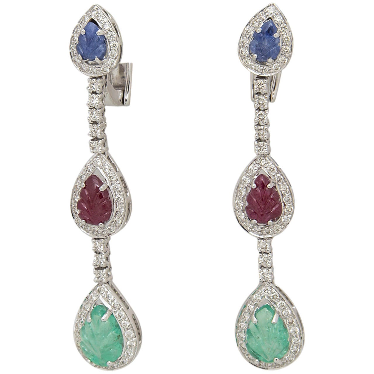 Carved Emerald, Ruby, And Sapphire Leaves In Diamond Drop Earrings 1