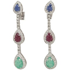 Carved Emerald, Ruby and Sapphire Leaves in Diamond Drop Earrings