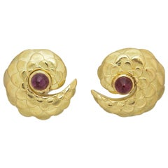 Judith Leiber Tourmaline Gold Dragon Scale Earrings