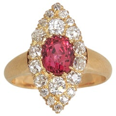 Victorian Spinel and Diamond Navette Gold Ring