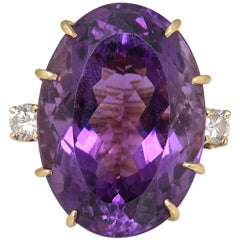 1970s Large Amethyst and Diamond Gold Cocktail Ring