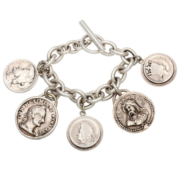 sterling silver chain bracelet with antique coin