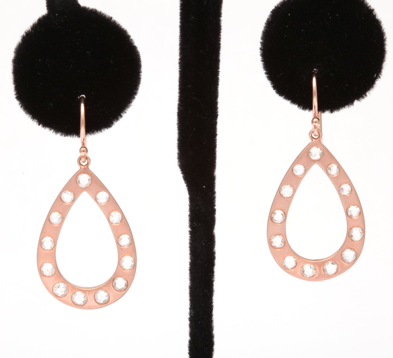 Women's Rose Gold and Rose Cut Diamond Earrings For Sale
