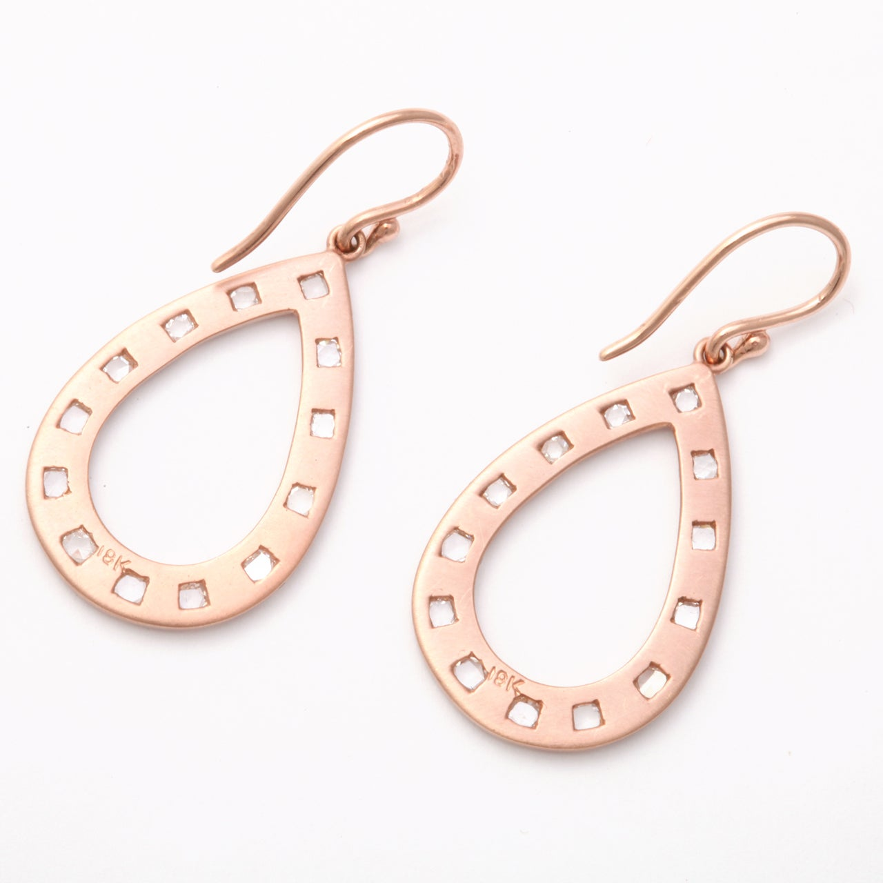 Rose Gold and Rose Cut Diamond Earrings For Sale 2