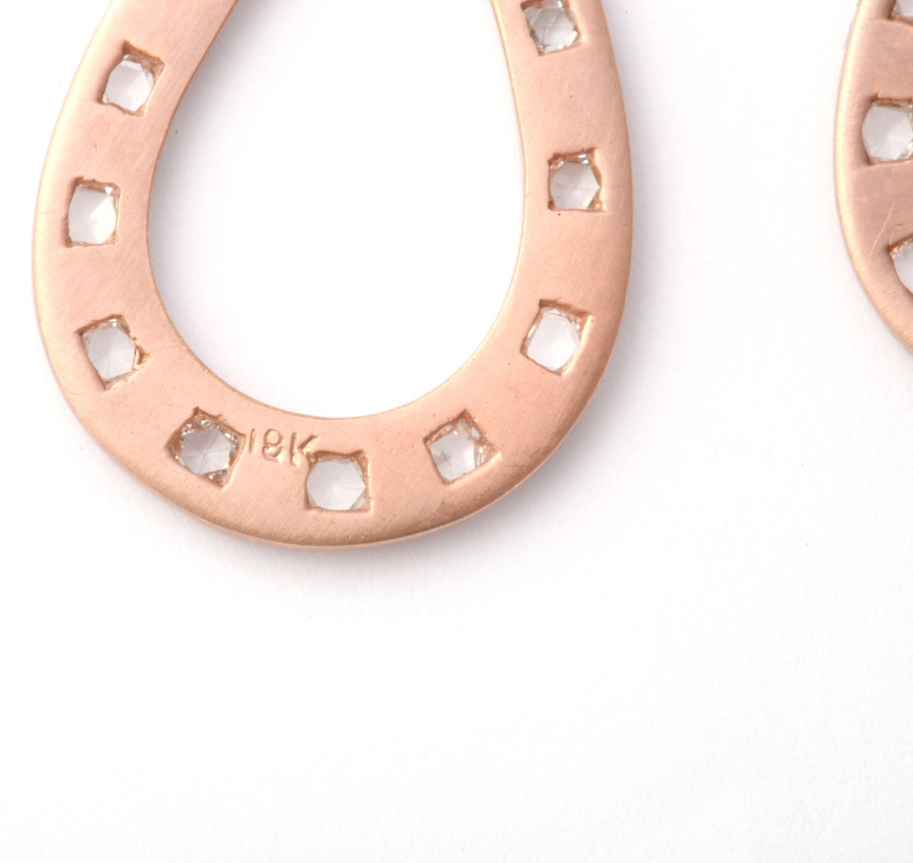 Rose Gold and Rose Cut Diamond Earrings For Sale 3