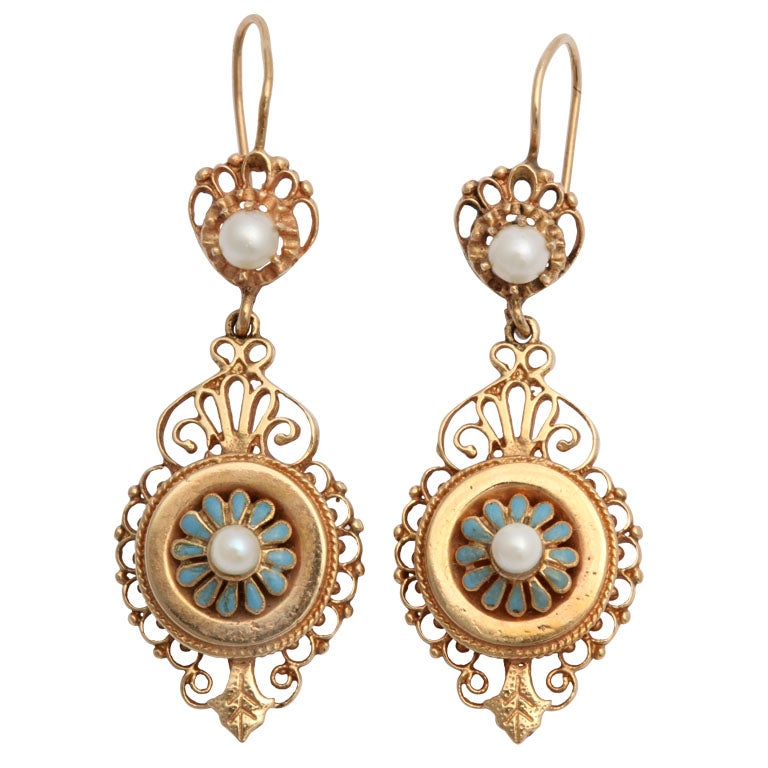 gold enamel and pearl earrings at 1stdibs
