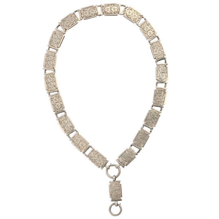 English Sterling Bookchain Necklace For Sale