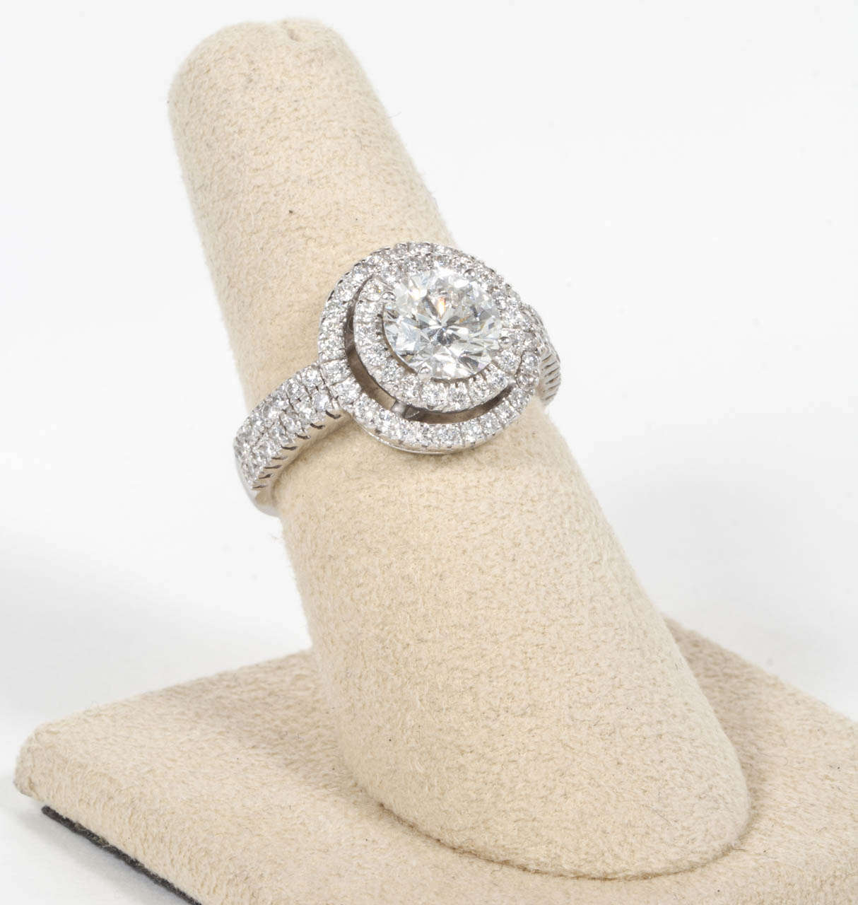 gia certified double halo round engagement ring 3 - Round Wedding Rings