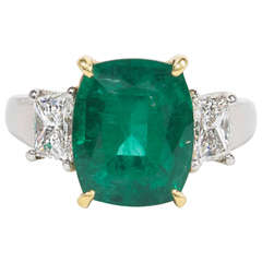 Fine Cushion Cut Emerald and Diamond Ring