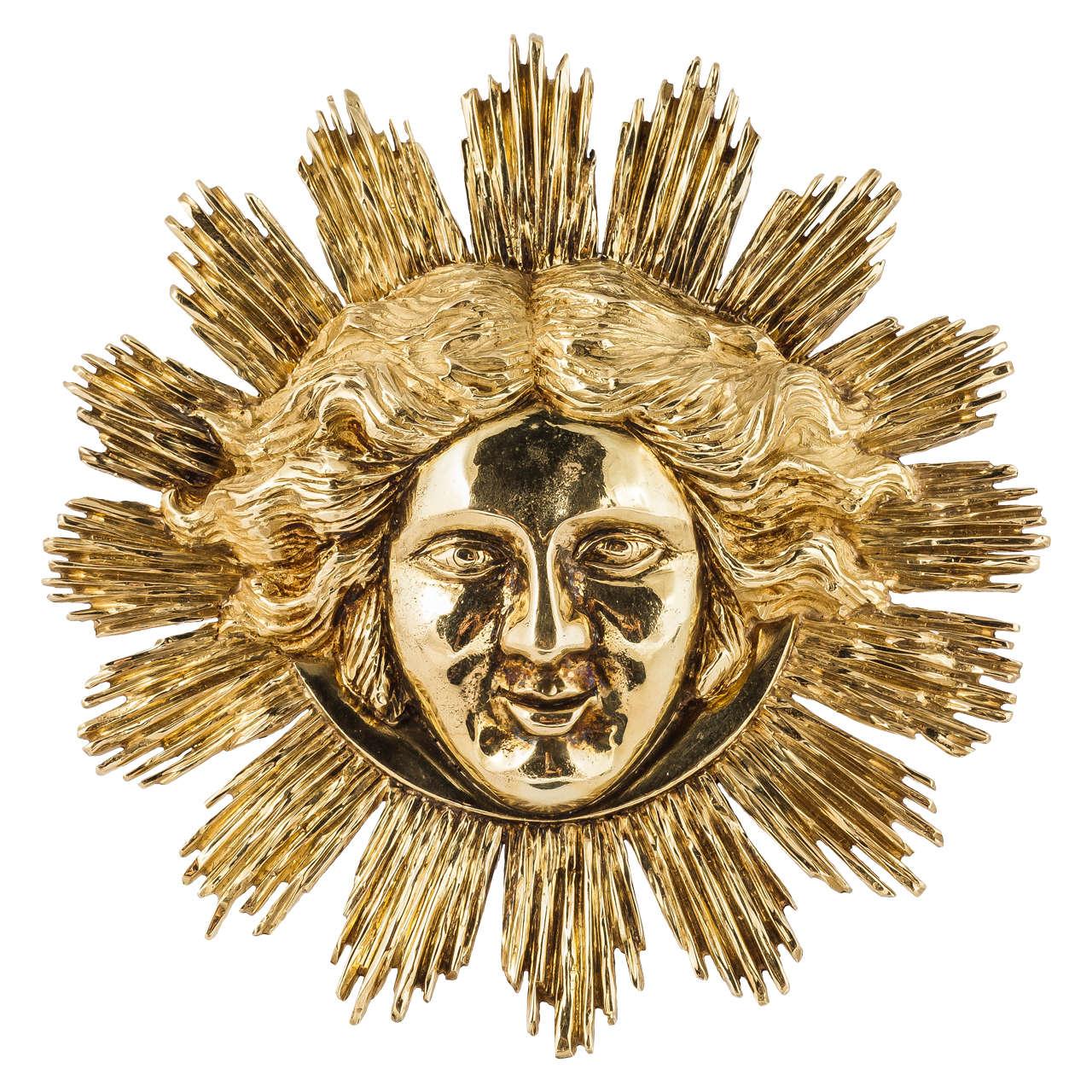 Gold Apollo Sun King Pendant For Sale