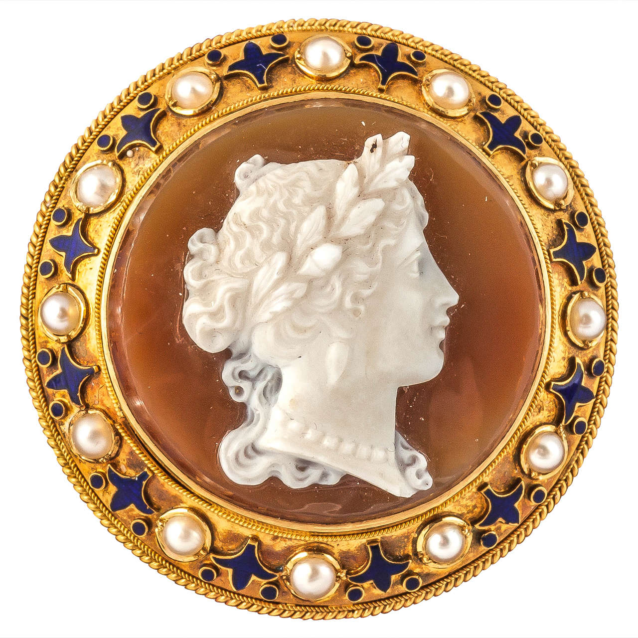 Hardstone Agate Cameo Gold Brooch At 1stdibs