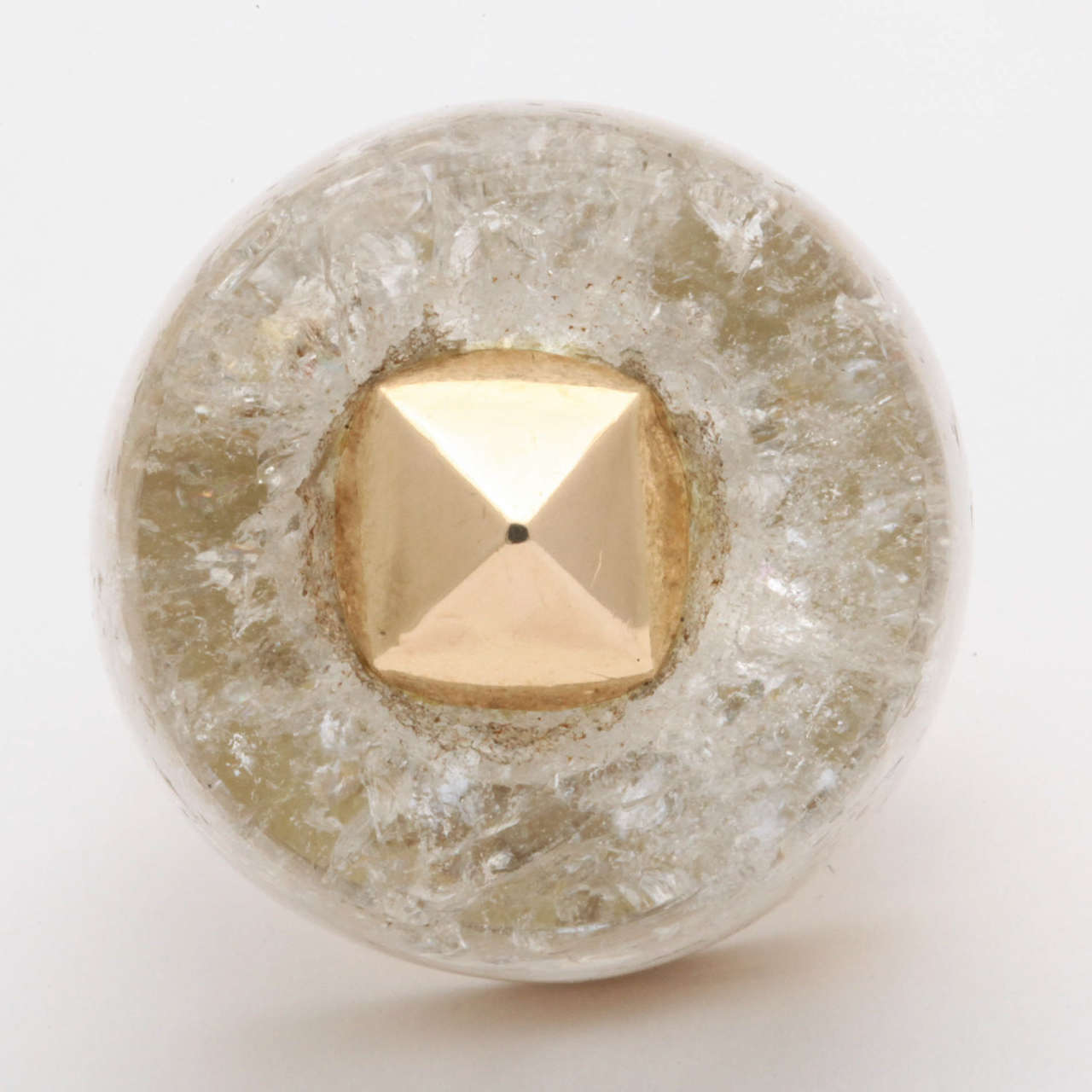 Women's 1950s Large Rock Crystal Gold Three Dimensional Ice Cube Stud Ring For Sale