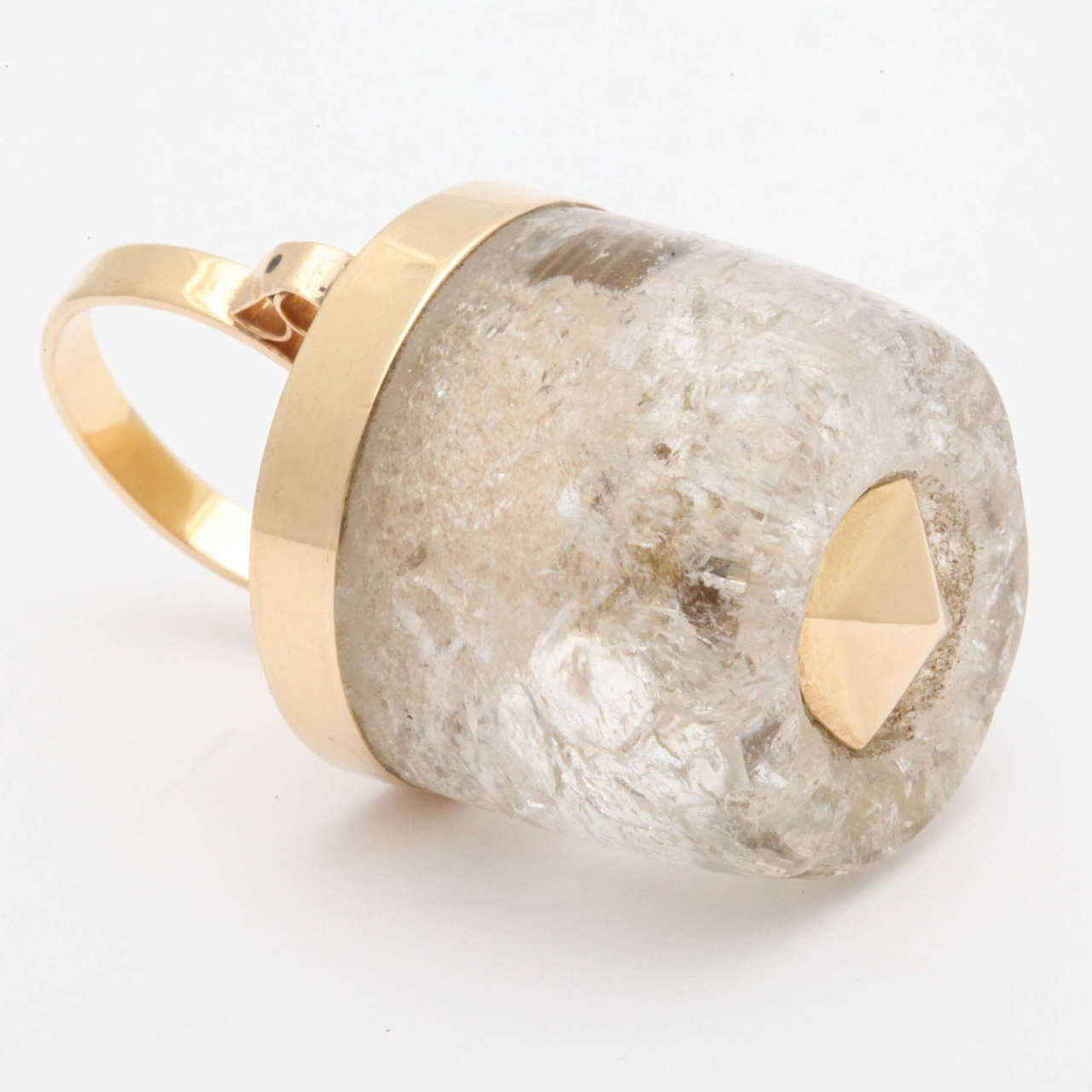 1950s Large Rock Crystal Gold Three Dimensional Ice Cube Stud Ring For Sale 1