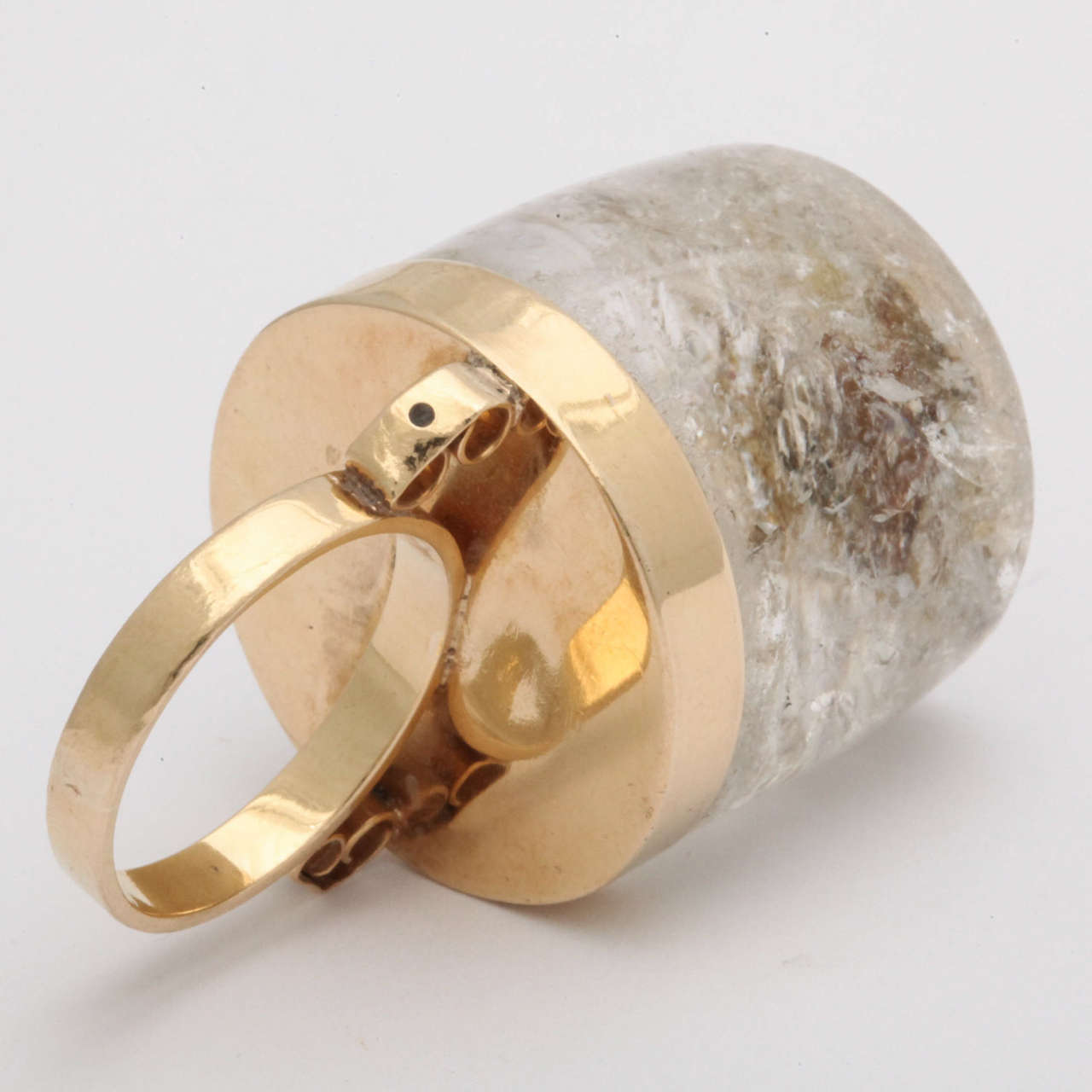 1950s Large Rock Crystal Gold Three Dimensional Ice Cube Stud Ring For Sale 2
