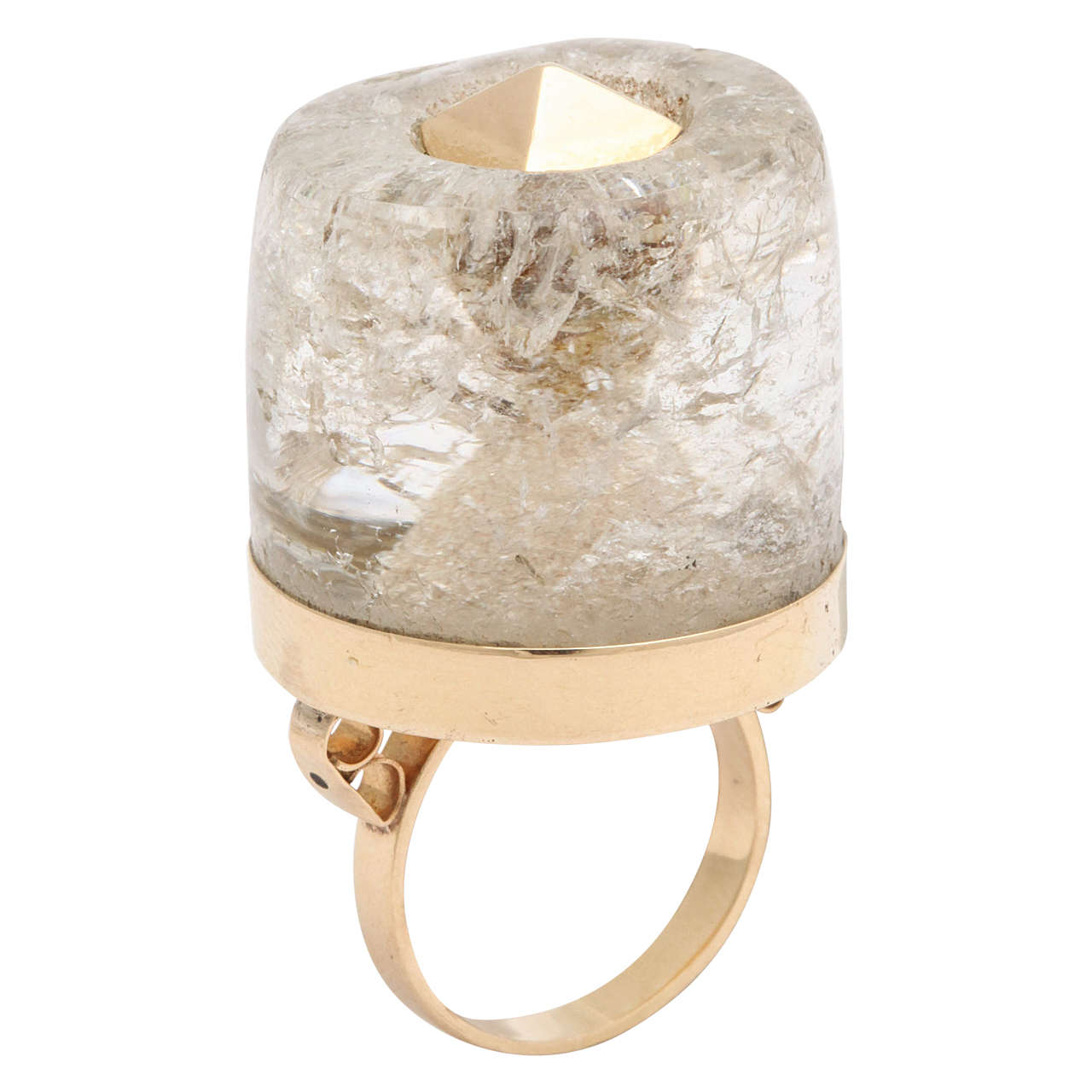 1950s Large Rock Crystal Gold Three Dimensional Ice Cube Stud Ring For Sale
