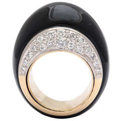 Onyx Diamond Gold Bombe Cocktail Ring