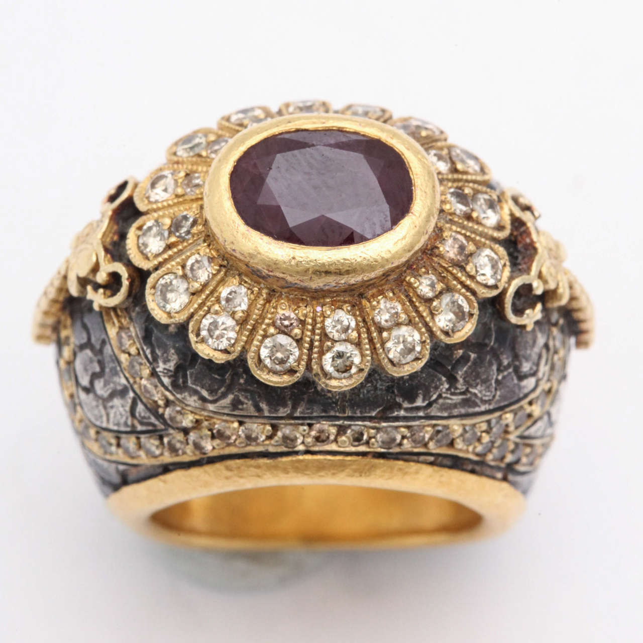 Erhan Gursen Ruby Diamond Silver Gold Cocktail Ring In Excellent Condition For Sale In New York, NY
